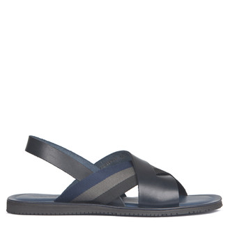 Criss-Cross Balck & Navy Leather Sandals | TJ COLLECTION | Main Image