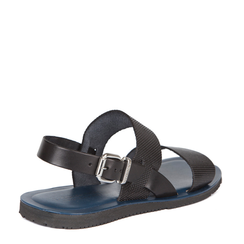 Sandals in Black Leather | TJ COLLECTION | Side Image - 2