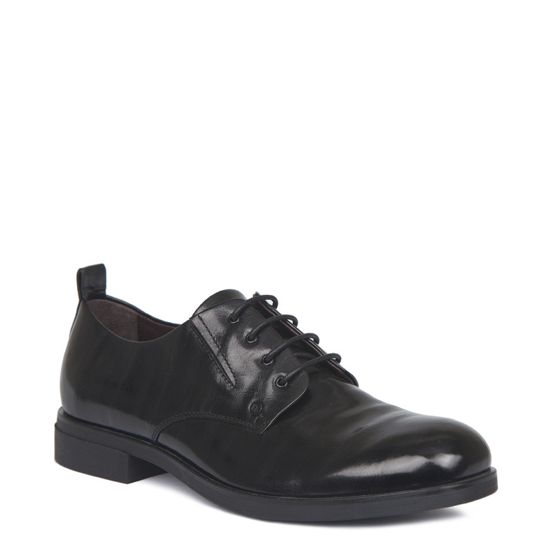 Derby Shoes in Black Texture Leather | TJ COLLECTION | Side Image - 1