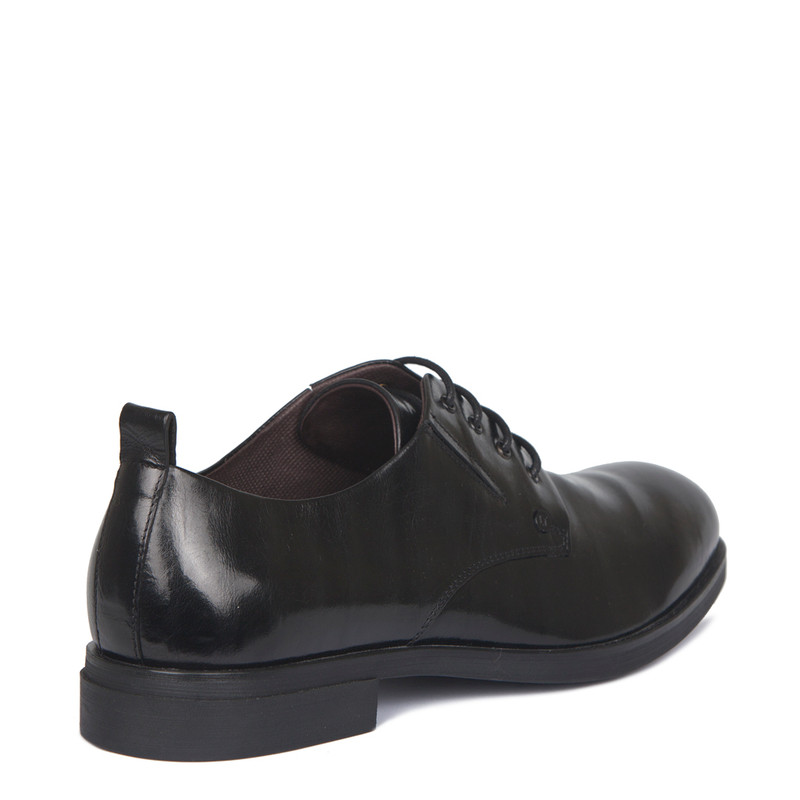 Derby Shoes in Black Texture Leather | TJ COLLECTION | Side Image - 2