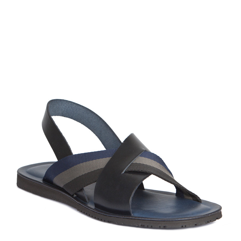 Criss-Cross Balck & Navy Leather Sandals | TJ COLLECTION | Side Image - 1