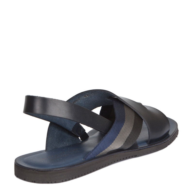 Criss-Cross Balck & Navy Leather Sandals | TJ COLLECTION | Side Image - 2