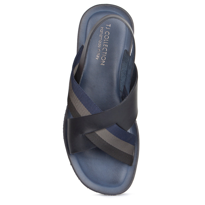 Criss-Cross Balck & Navy Leather Sandals | TJ COLLECTION | Side Image - 3