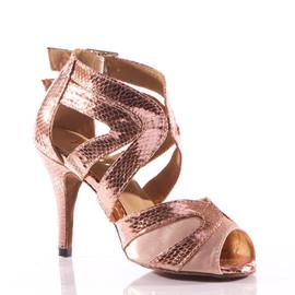 386d9f558aa7 Isabel - Metallic Open Toe Cross Strap Stiletto Dance Shoe - 3.5 inch Heels
