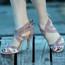 Isabel - Denim Open Toe Cross Strap Stiletto - 4 inch Heels