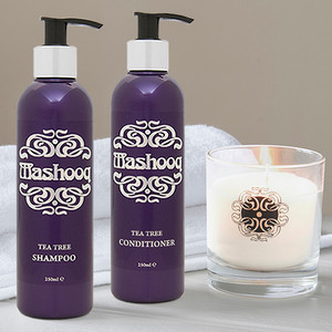 Mashooq candle, tea tree shampoo, conditioner
