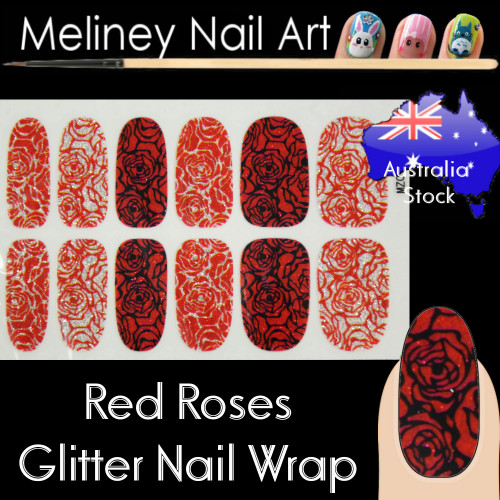 Red Rose nail wraps stickers