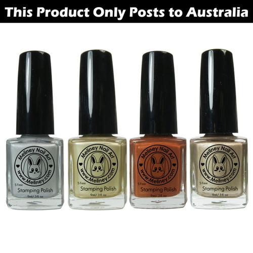 Meliney Nail Art Stamping Polish - Metallic Set 4pc