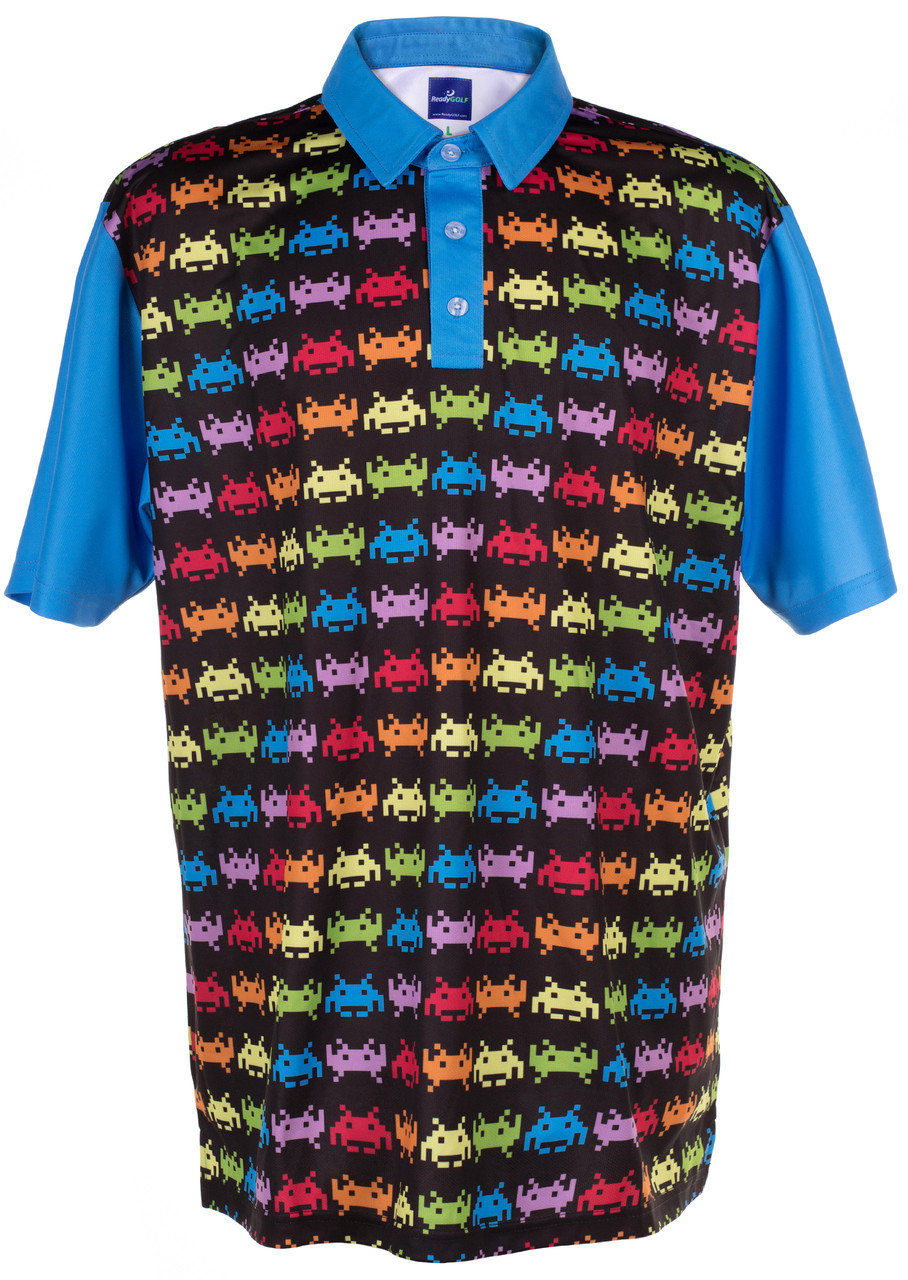 ace919baa Invaders from Space Mens Golf Polo Shirt