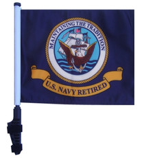 Retired Navy 11x15 inch Golf Cart Flag with Pole