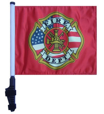Fire Department 11x15 inch Golf Cart Flag with Pole