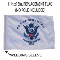 "Golf Cart Flags - RETIRED COAST GUARD 11""x15"" Replacement Flag"