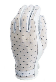 Evertan Women's Tan Through Golf Glove: Black & White Dots