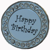 NAVIKA: Ball Marker & Hat Clip - HAPPY BIRTHDAY - White