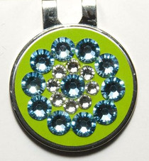 Blingo Ball Markers: Blue on Neon Green