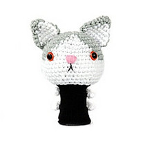 Amimono Animal Golf Driver Headcover - White/Grey Bicolor Cat (C504-C)