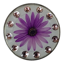 BELLA Swarovski Crystal Exchange Ball Marker & Hat Clip - Daisy Purple