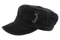Dolly Mama Ladies Fidel Military Cap - Golf Girl on Black