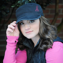 Dolly Mama Ladies Fidel Military Cap - Pink Ribbon on Black