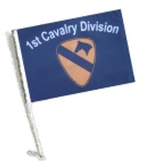 Car Flag with Pole - 1st CAVALRY DIVISION