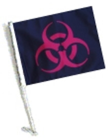 Car Flag with Pole - BIOHAZARD RED