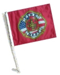 Car Flag with Pole - FIRE DEPT