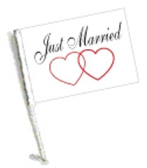 Car Flag with Pole - JUST MARRIED