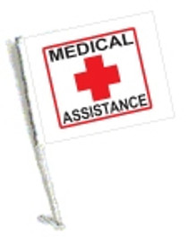 Car Flag with Pole - MEDICAL ASSISTANCE