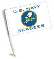 Car Flag with Pole - U.S. NAVY SEABEES