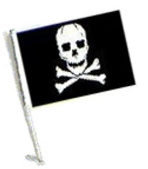 Car Flag with Pole - PIRATE SKULL AND CROSS BONES