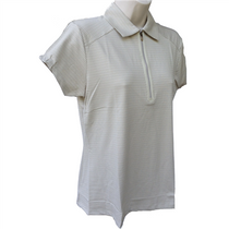 Nancy Lopez Golf Ladies Short Sleeve Polo - Flare - Champagne - Medium - SALE