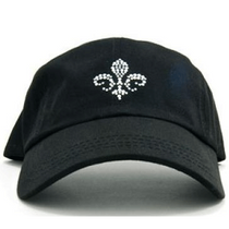 Dolly Mama Ladies Baseball Hat - Fleur de Lis on Black