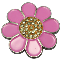 ReadyGolf - Hippie Flower Ball Marker & Hat Clip with Crystals - Pink with Orange