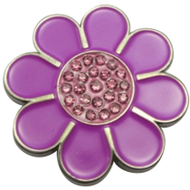 ReadyGolf - Hippie Flower Ball Marker & Hat Clip with Crystals - Purple with Pink