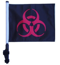 BIOHAZARD RED 11x15 inch Golf Cart Flag with Pole