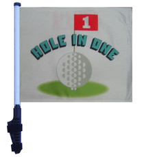 HOLE IN ONE 11x15 inch Golf Cart Flag with Pole