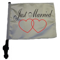 JUST MARRIED 11x15 inch Golf Cart Flag with Pole