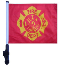 FIRE DEPT VINTAGE DESIGN 11x15 inch Golf Cart Flag with Pole