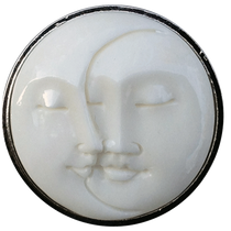 ReadyGolf - Buffalo Bone Carved Double Moon Face Ball Marker