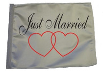 """Golf Cart Flags - JUST MARRIED 11""""x15"""" Replacement Flag"""