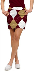 Loudmouth Golf Womens Skort - Maroon & Gold Argyle