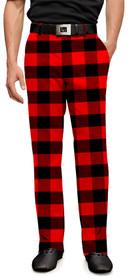 Loudmouth Golf Mens Pants - Lumberjack (Red & Black Plaid)
