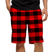 Loudmouth Golf Mens Shorts - Lumberjack (Red & Black Plaid)