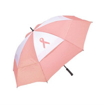 "Pink Ribbon 62"" Pink & White Wind Vent Gullywash Umbrella by Bag Boy"