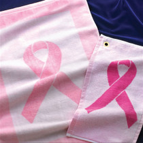 Pink Ribbon 16X26 Image Dye Pink & White Edge Golf Towel by Devant