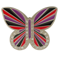 Red Black and Purple Butterfly Buckle by Druh Belts