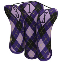 BeeJo's: Golf Headcover - Regal Argyle Purple Print