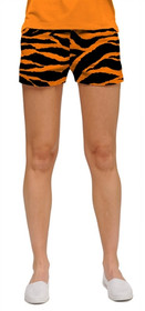 Loudmouth Golf Womens Mini Shorts - Orange & Black Tiger Stripes