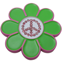 ReadyGolf - Peace Sign Hippie Flower Ball Marker & Hat Clip with Crystals