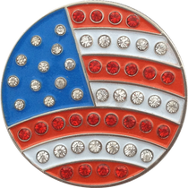ReadyGolf - USA Flag Ball Marker & Hat Clip with Crystals